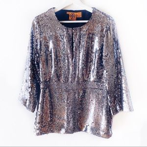 Tory Burch Silver Pewter Sequin Tunic Shirt 10